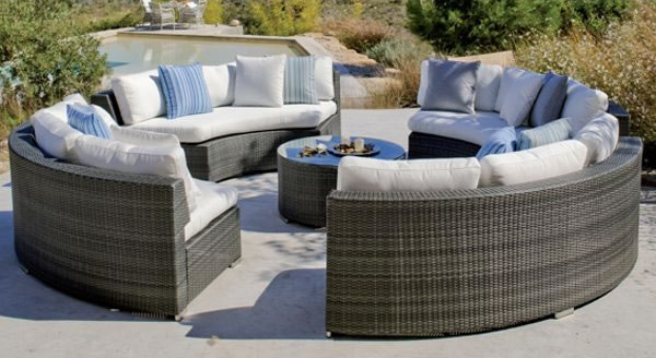 Decoracion mueble sofa muebles jardin rattan sintetico for Sofa redondo jardin